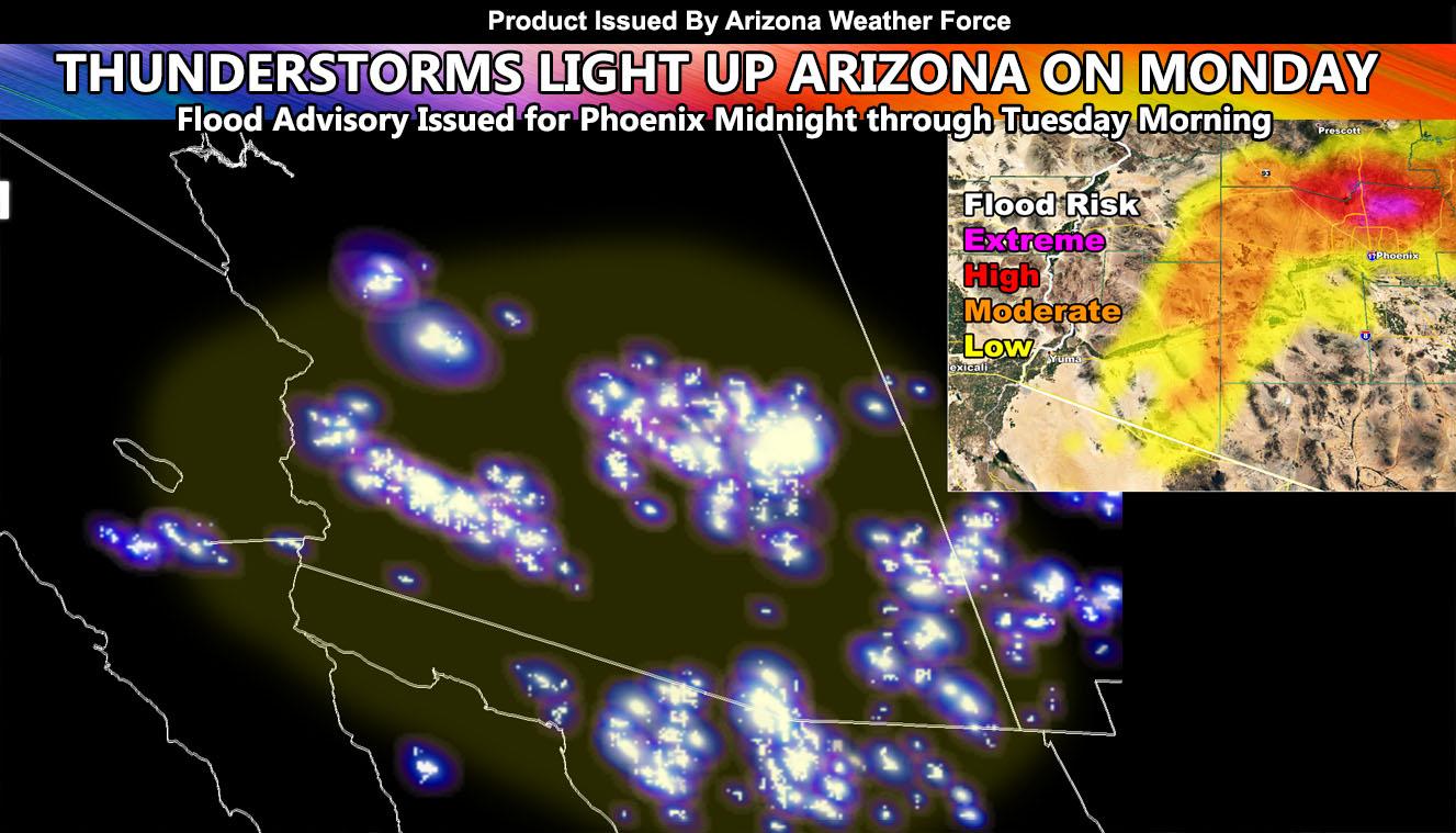Widespread Thunderstorms Slam Arizona On Monday; Flood Advisory Issued For Phoenix Midnight through Tuesday Morning