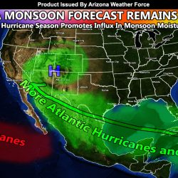 Arizona Monsoon Forecast Released:  Above Average Monsoon Expected In Arizona With Above Average Temperatures Mixed In