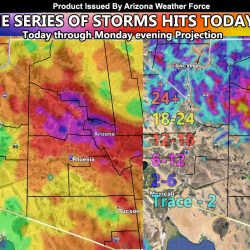 Back to Back Storms To Impact Arizona Through Monday night; Rain and Snowfall Final Forecast Issued Along With Thunderstorm Wording