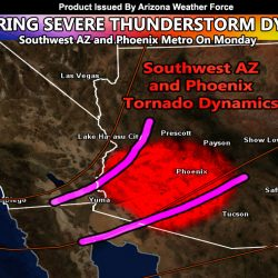Severe Weather Statement Issued For Southwest AZ and Phoenix Metro For Monday's Risk Of Severe Thunderstorms, Including Isolated Tornadoes