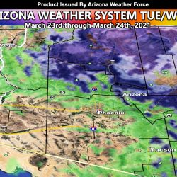 Weather System To Affect Arizona Tuesday into Wednesday; Rain and Snow Models Provided Inside