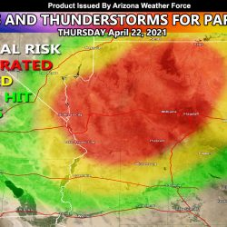 Showers and Thunderstorms for the Northern and Western half of Arizona today into later this evening