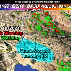 July 19, 2021 Arizona Monsoon Flash Flood Warning Prediction Zones and Yuma Storm Discussion; Zoom In Maps Available
