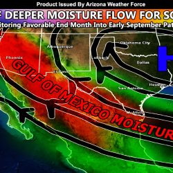 Monsoon Flow Taking A Break Over The Next Week; But Gulf Of Mexico Flow Threatens To Reactivate The Pattern End Month Into Early September