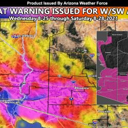 High Heat Warning Issued For West and Southwest half of Arizona Wednesday through Saturday of This Next Week As Ridge Of High Pressure Dominates; Zoom-In Models Activated