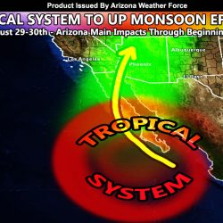 Favorable Tropical Pattern To Restart Monsoon Conditions Across Arizona; Increasing Coverage Starting Today and Going Through The Next Week; Details
