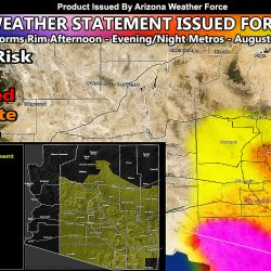 Severe Weather Statement Issued Ahead Of Mogollon Rim Storms To Low Desert Metros For Saturday August 28th, 2021; Zoom-In Images Inside