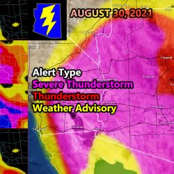 Severe Weather Dynamics Across Arizona For August 30th 2021; Arizona Is At A Shooting Gallery; FOUR Zoom-In Models included for Hail, Wind, Storm Coverage, and Severe Risk