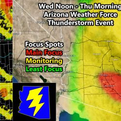 Upper Level Low Pressure Center To Upswing Shower and Thunderstorm Activity Across Most of Arizona Wednesday into Thursday